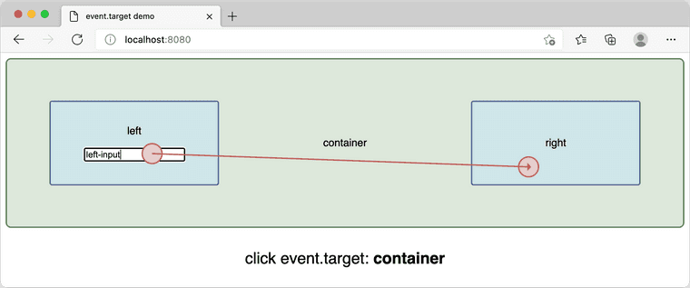 Edge: mouse pressed in left-input, released in right div, event.target is container