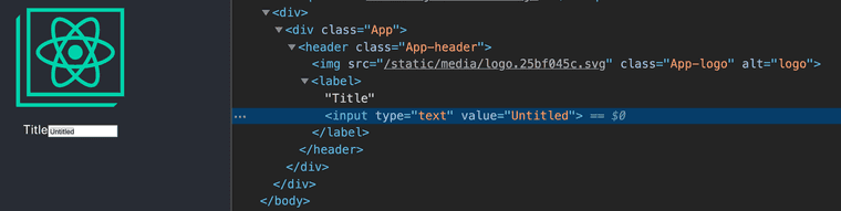 A screenshot of a browser running a React app. Chrome dev tools is open, showing the rendered app in the DOM. It shows that the input element with the `autoFocus` prop rendered an HTML element without the `autofocus` HTML attribute.